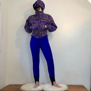 Vintage ski suit with matching hat